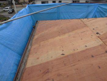 野地板交換,雨樋撤去,雨漏り補修