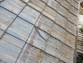 屋根調査,瓦の割れ,福山市