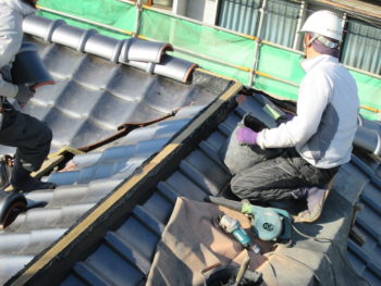 芯木,屋根板,棟施工
