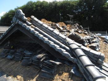 瓦撤去,棟巻き替え工事,福山市