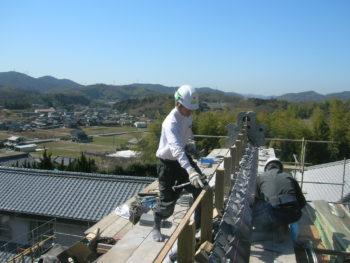 大棟施工,屋根工事,本葺き瓦屋根