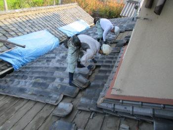 瓦解体,小屋裏換気,葺き替え工事