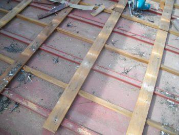 屋根断熱,瓦棒,桟木撤去