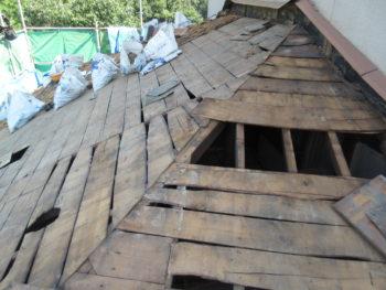 下屋根工事,下地板腐食,下地板補修