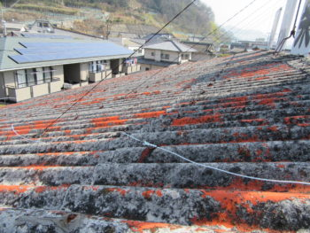 スレートの塗装劣化,屋根のコケ,屋根材