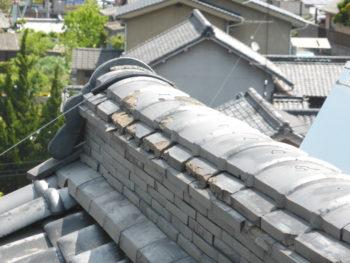 棟瓦補修,熨斗瓦のズレ,瓦の固定
