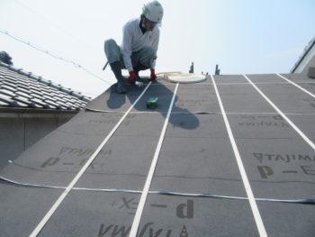 大屋根,防水シート,縦桟テープ