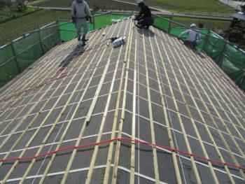 桟木,下地補強,切妻屋根