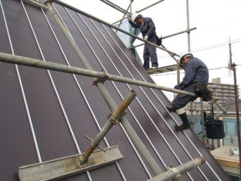 安全帯着用,ガルバリウム鋼板葺き替え,板金工事