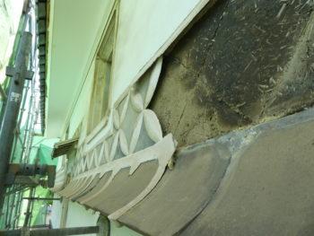 なまこ壁,漆喰剥離,築100年