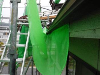 落下防止ネット,防護用ベニヤ板,大屋根工事