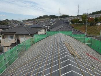 桟木の敷設,瓦の固定,耐震補強