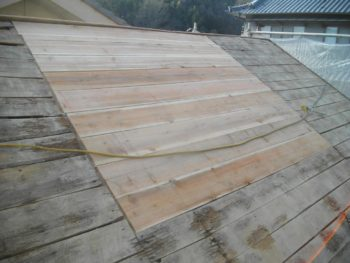 下地板の補強,野地板張替,大工工事