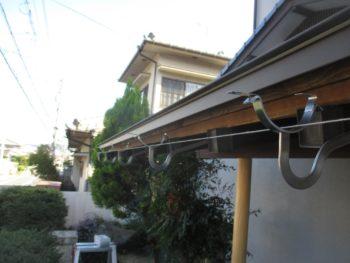 雨樋の調整,水糸で勾配,集水器への流れ確保