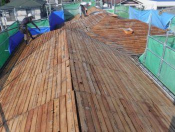 大屋根葺き替え,下地板の点検,補強工事