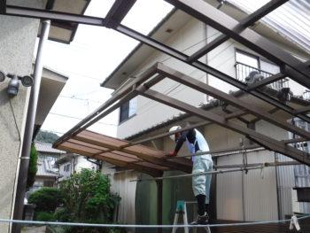 カーポートの屋根交換,波板劣化,藤井製瓦工業