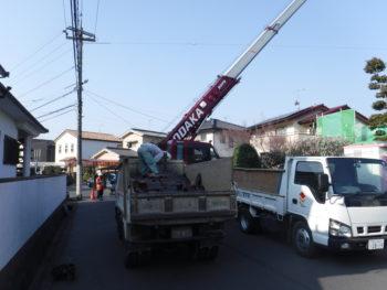ダンプ積み込み,解体作業,瓦の処分