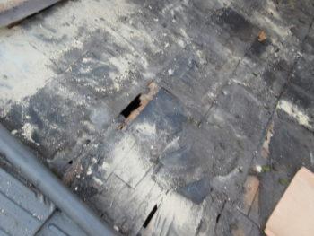 屋根裏の掃除,桟葺き,下屋根