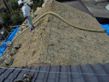 土葺き屋根,クリーンカー,葺き土撤去