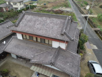 いぶし瓦,ドローン写真,屋根全体
