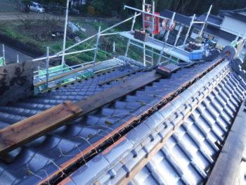 棟施工,のし瓦銅線緊結,なんばん漆喰