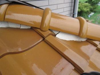 漆喰のヒビ,棟の補修,台土の崩れ