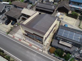 上空写真,モルタル外壁,塗装完了
