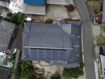 上空写真,入母屋根,太陽光パネル